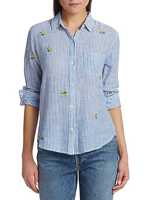 Rails Charli Floral Embroidered Stripe Button Down Shirt Saksfifthavenue