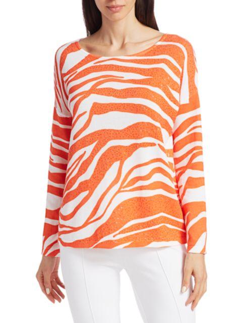 Joan Vass Zebra Sequin Sweater   SaksFifthAvenue