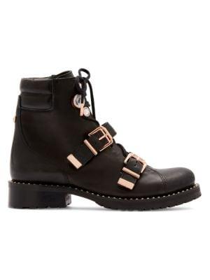Sophia Webster Ziggy Crystal-Embellished Leather Biker Boots