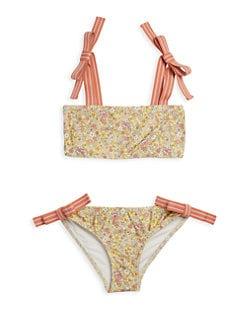 Penny M 2 piece swim bathing suit flowers 12 18 24 months New