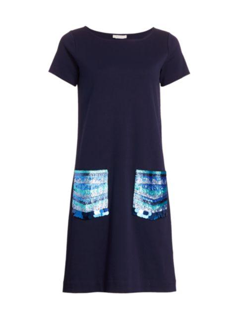 Joan Vass Sequin Pocket Shift Dress | SaksFifthAvenue