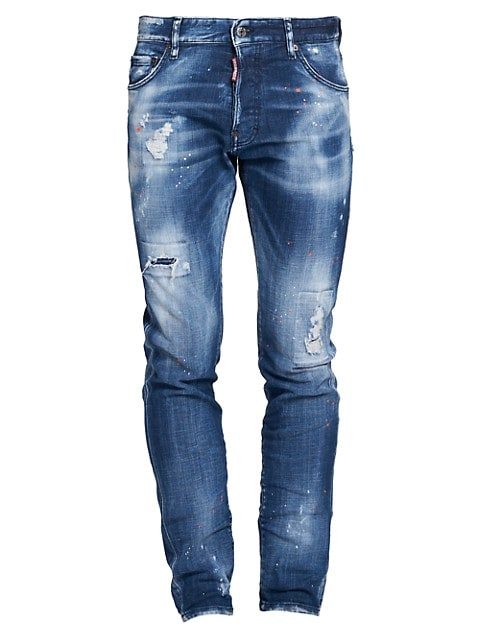 Cool Guy Country Wash Distressed Paint Splatter Jeans