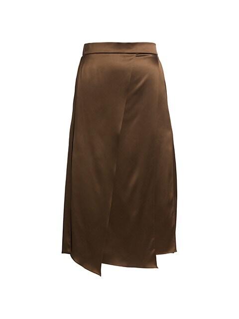 Metallic Panel Stretch-Silk Skirt