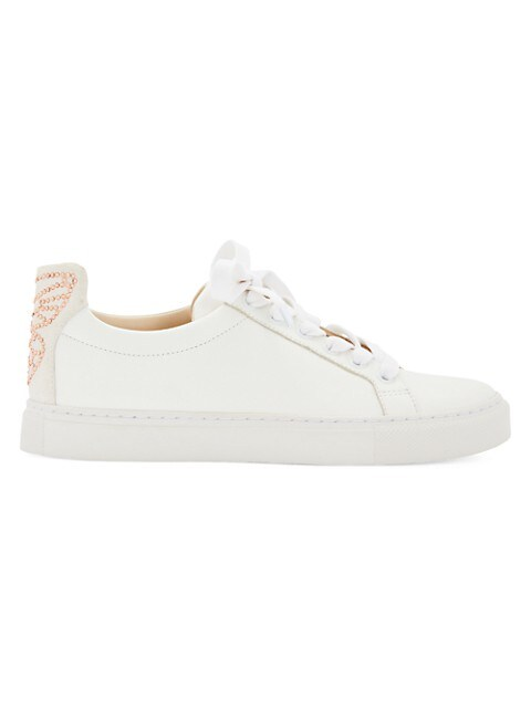 Butterfly Glitter Low-Top Leather Sneakers