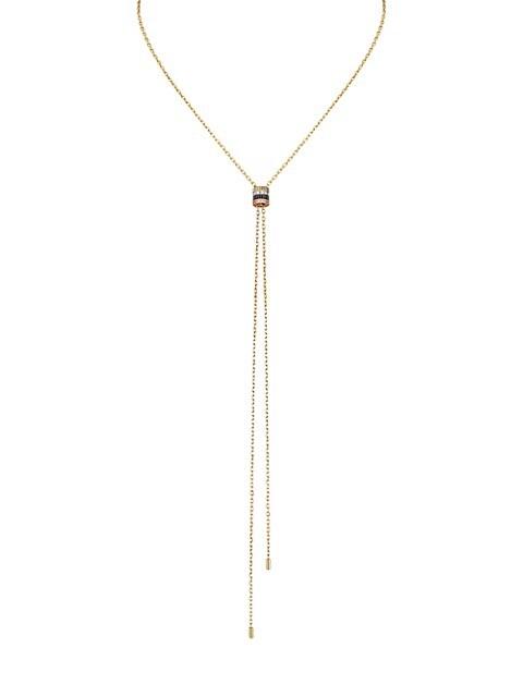 Quatre Classique 18K Tri-Tone Gold, Brown PVD & Diamond Pendant Mini Bolo Necklace