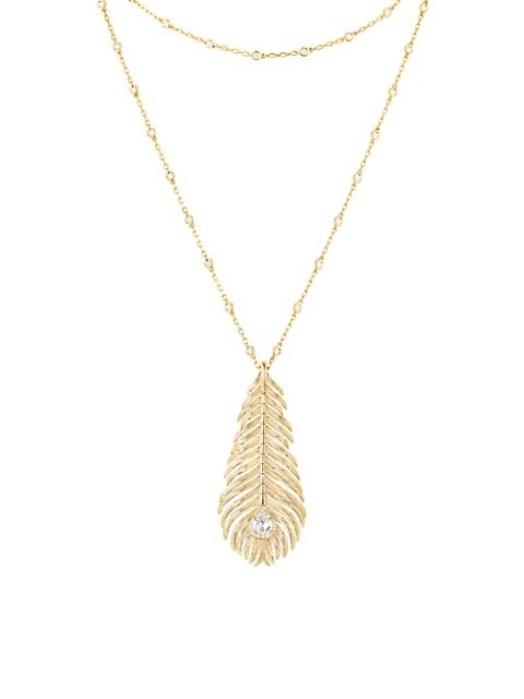 Plume de Paon 18K Yellow Gold & Diamond Peacock Feather Pendant Necklace