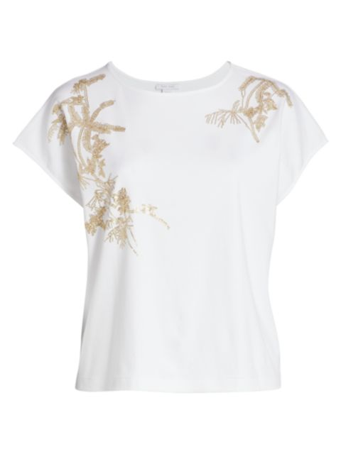 Joan Vass, Plus Size Embroidered Leaf Big T-Shirt | SaksFifthAvenue