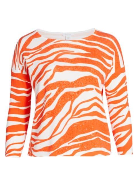 Joan Vass, Plus Size Sequin Animal Sweater   SaksFifthAvenue
