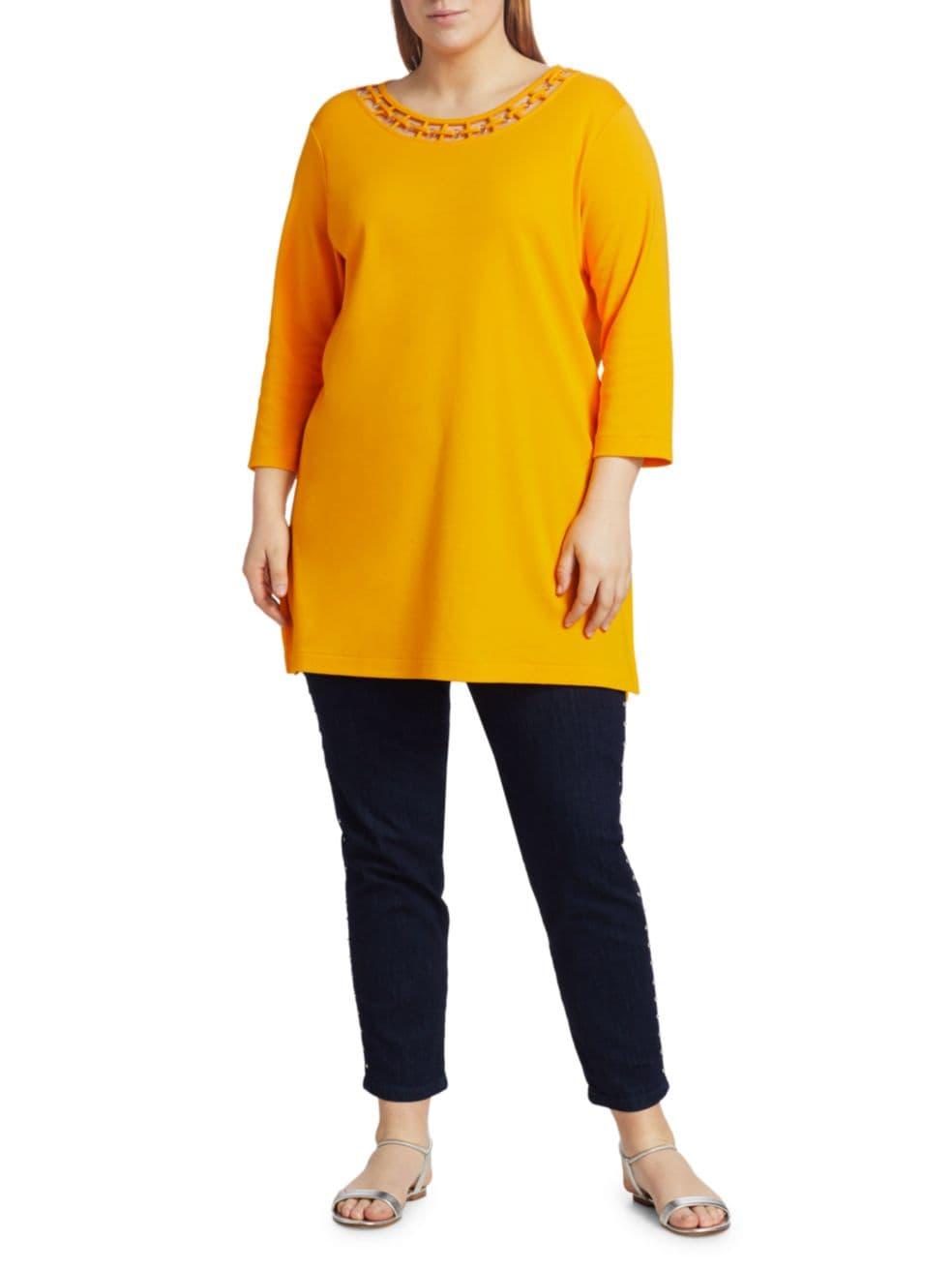 Joan Vass, Plus Size Interlock Cutout Tunic   SaksFifthAvenue