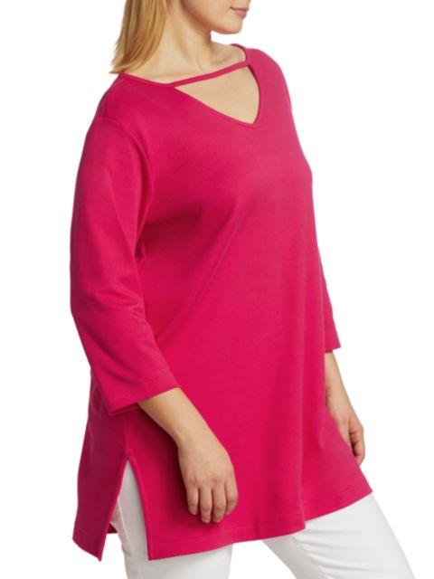 Joan Vass, Plus Size V-Neck Cutout Tunic   SaksFifthAvenue