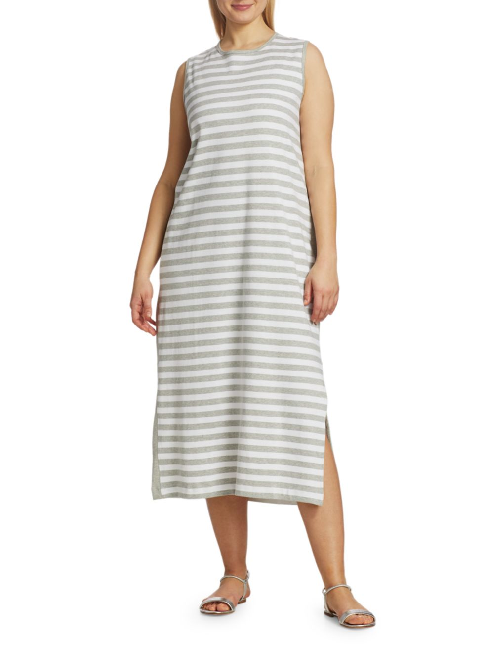 Joan Vass, Plus Size Striped Sleeveless Midi Dress | SaksFifthAvenue