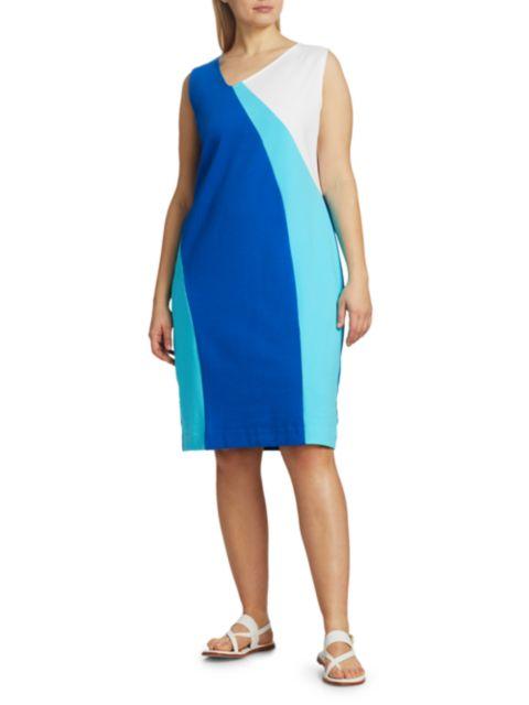 Joan Vass, Plus Size Colorblock Wave Dress | SaksFifthAvenue