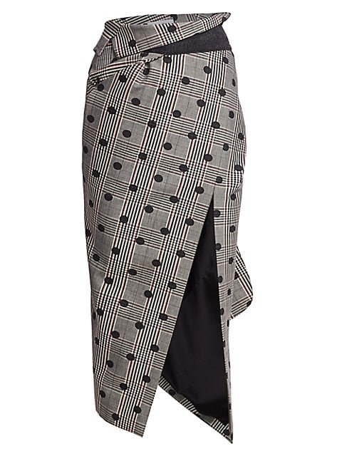 Polka Dot Plaid Foldover Asymmetric Midi Skirt