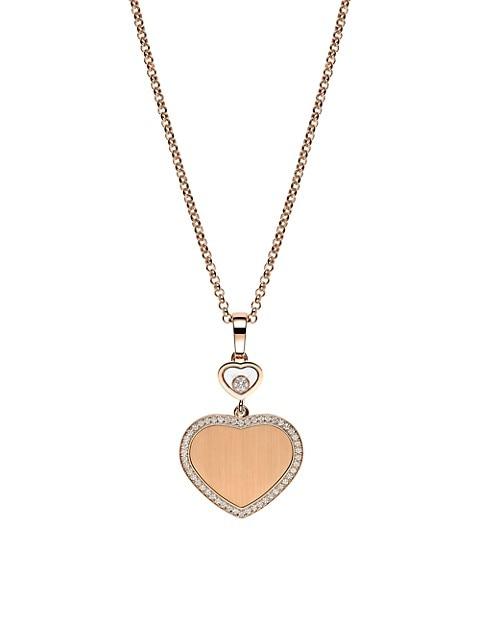 Chopard x 007 Happy Hearts - Golden Hearts 18K Rose Gold & Diamond Pavé Limited Edition Pendant Nec