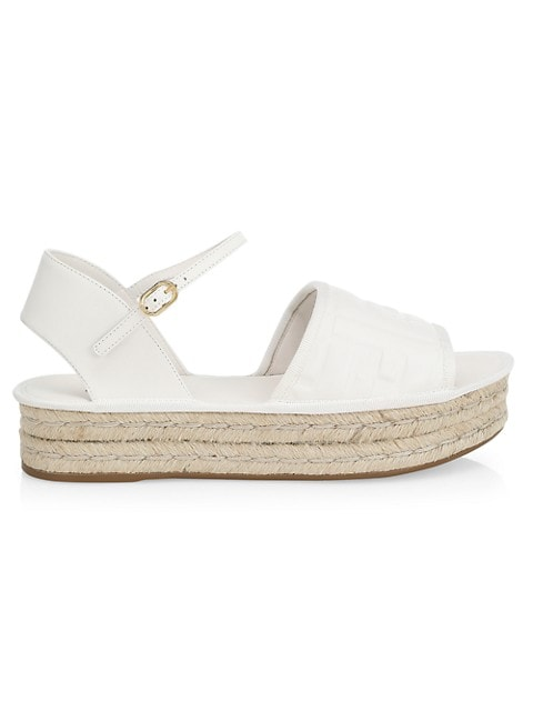 Fendi FF-Embossed Leather Espadrille Sandals