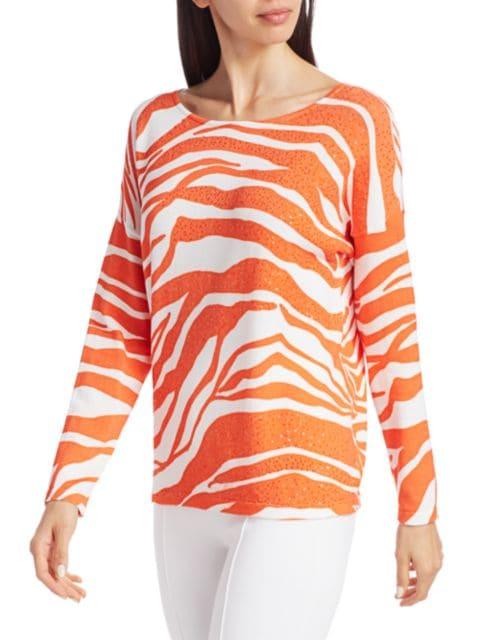 Joan Vass Petite Sequin Tiger-Stripe Cotton Sweater | SaksFifthAvenue