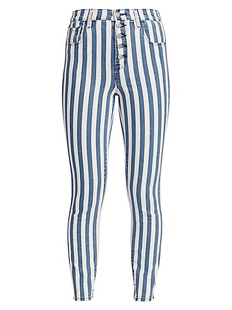 Lillie High-Rise Striped Crop Skinny Jeans