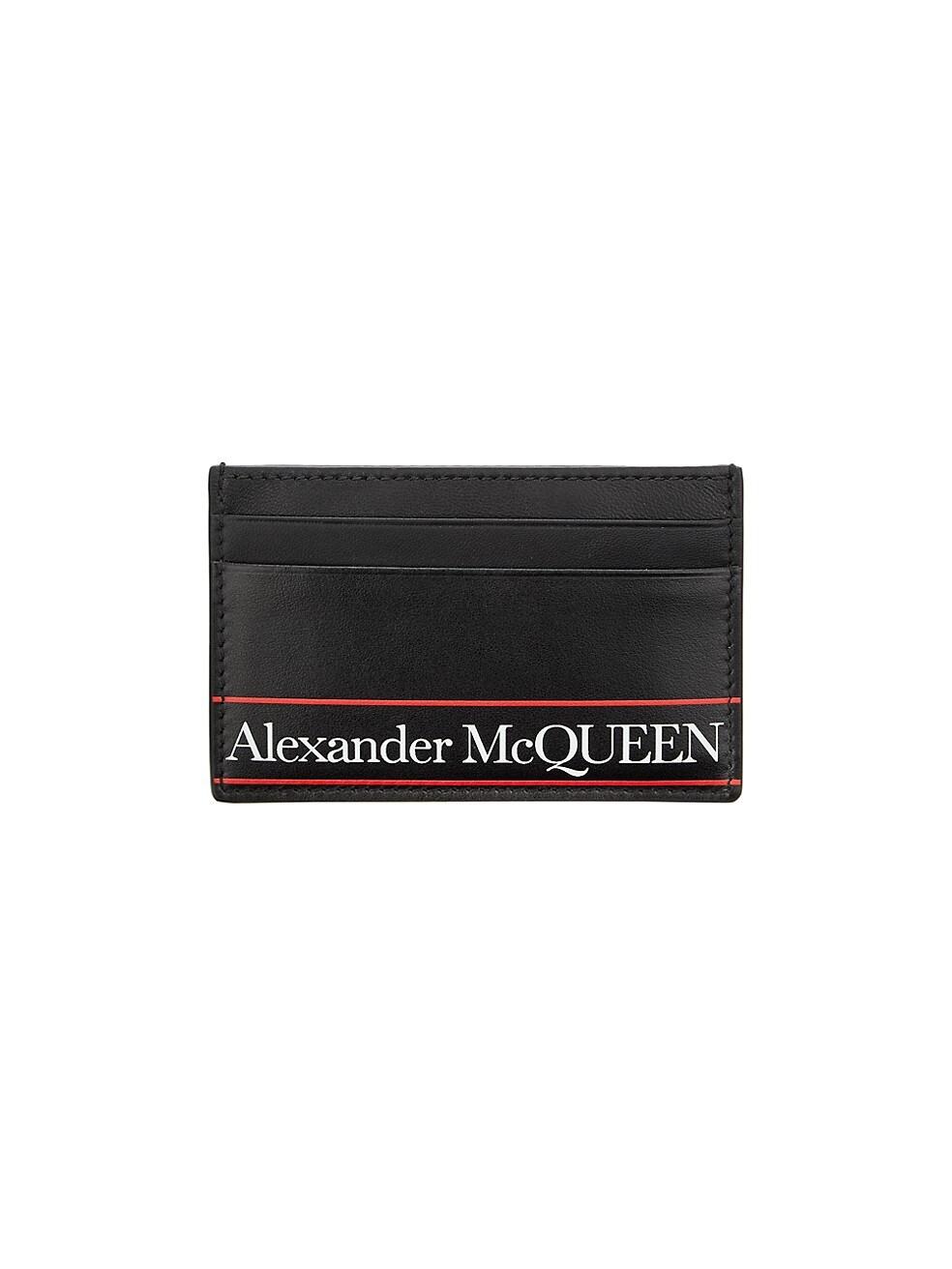 알렉산더 맥퀸 Alexander McQueen Logo Leather Card Holder,BLACK RED