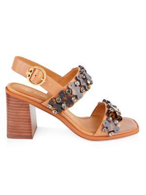 Tory Burch Delaney Embellished Leather Block-Heel Sandals