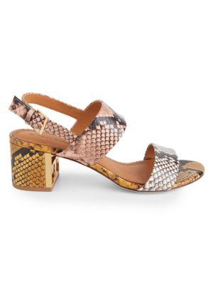 Tory Burch Gigi Snake-Print Leather Sandals