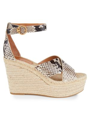Tory Burch Shelby Snakeskin-Embossed Leather Espadrille Wedge Sandals