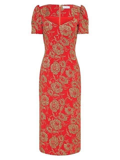 Amaretto Puff-Sleeve Sheath Dress