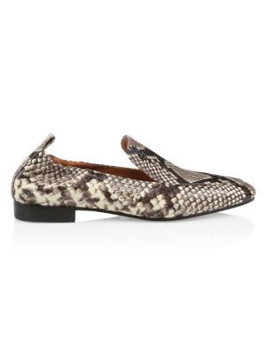Tory Burch Kira Snakeskin-Embossed Leather Loafers