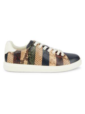Tory Burch Howell Stripe Snakeskin-Embossed Leather Sneakers