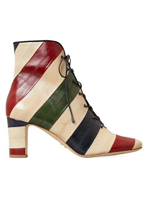 Tory Burch Vienna Colorblock Stripe Leather Ankle Boots