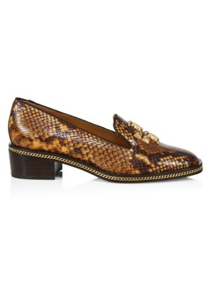 Tory Burch Freya Snakeskin-Print Leather Loafers