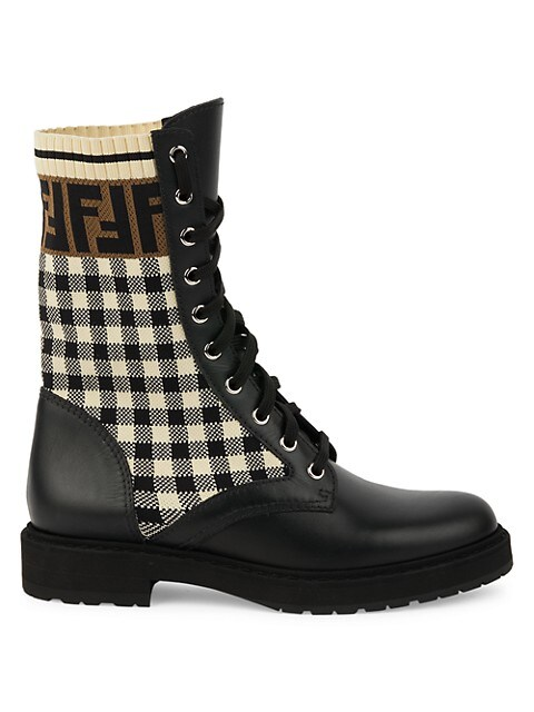 Fendi Rockoko Mixed-Media Combat Boots
