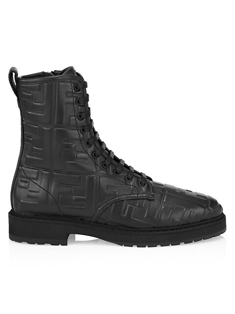 Fendi FF Leather Moto Boots