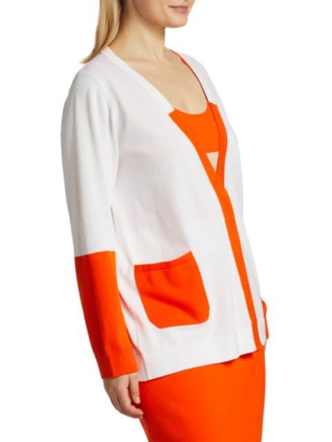 Joan Vass, Plus Size Colorblock Knit Cardigan   SaksFifthAvenue