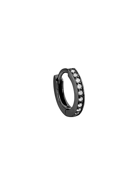 Berbere Mini 18K Black Gold & Diamond Single Hoop Earring