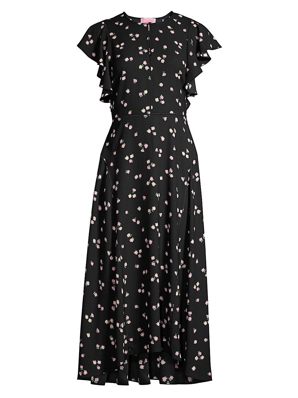 Kate Spade Ditsy Begonia Flutter-sleeve Dress In Black