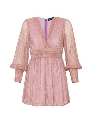 Retroféte Dani Metallic Blouson-Sleeve Dress