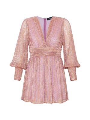 Retroféte Dani Metallic Blouson-Sleeve Dress