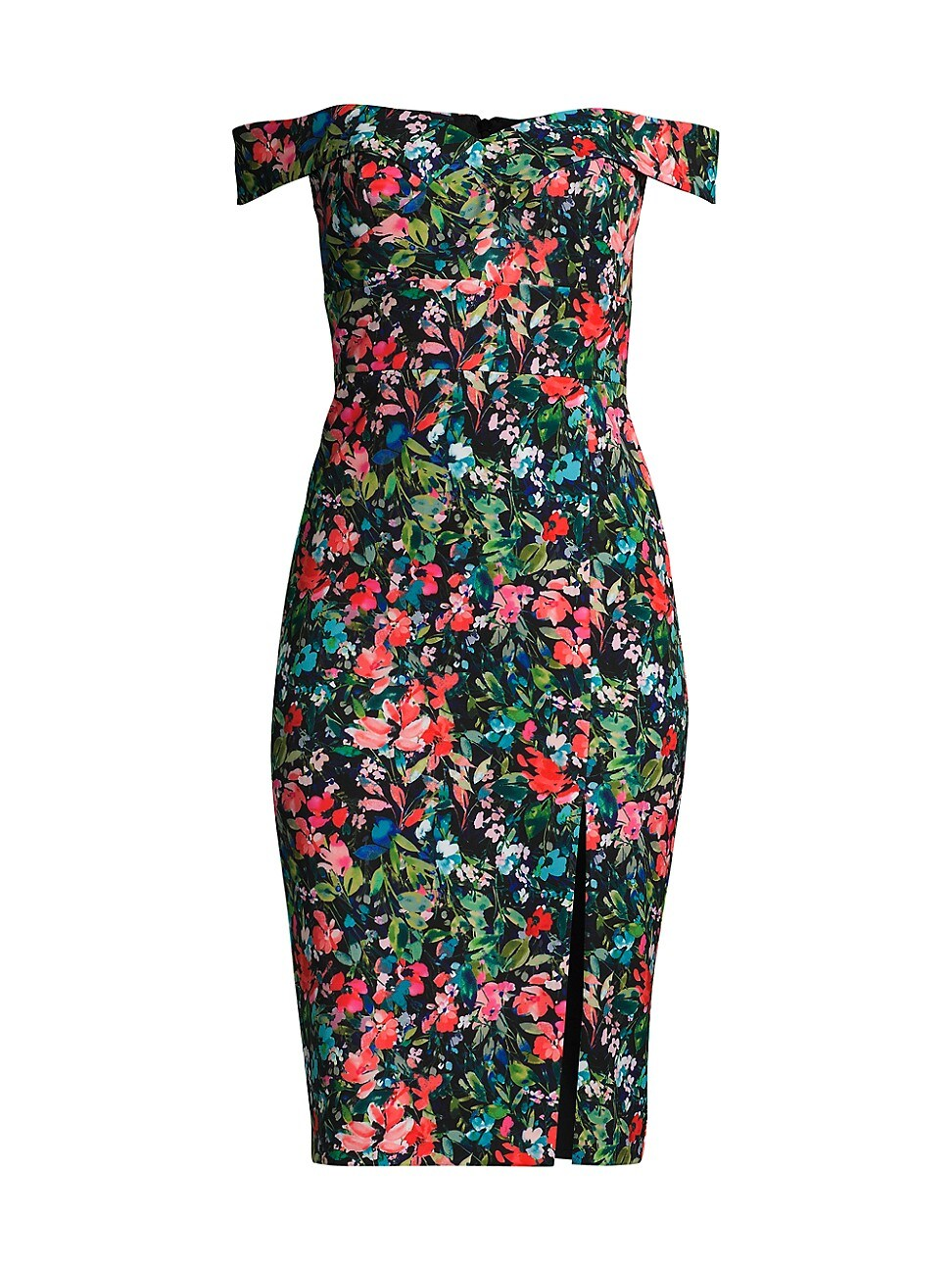 Aidan Mattox WOMEN'S FLORAL OFF-THE-SHOULDER CREPE SHEATH DRESS