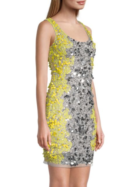 Aidan by Aidan Mattox Colorblocked Sequin Sheath Dress | SaksFifthAvenue
