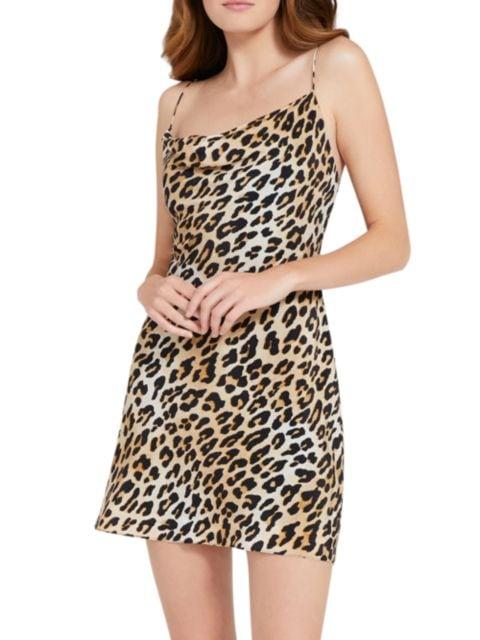 Alice + Olivia Harmony Leopard Draped Slip Mini Dress   SaksFifthAvenue