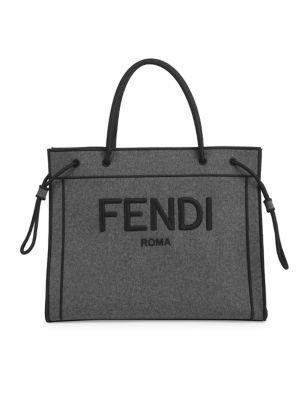 Fendi Women's Large Logo Flannel Tote In Grey