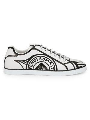 Fendi Trompe L'Oeil Stamp Leather Sneakers