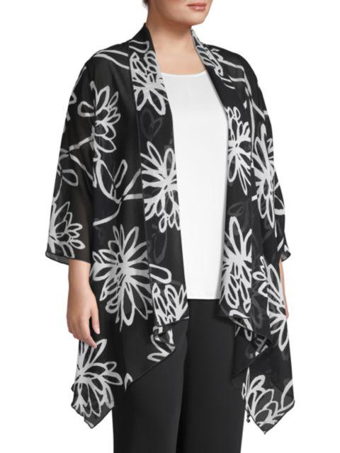 Caroline Rose, Plus Size Wild Flower Georgette Topper | SaksFifthAvenue
