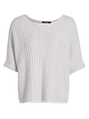 Nic + Zoe, Plus Size Women's Glow For It Sweater In Pale Smoke