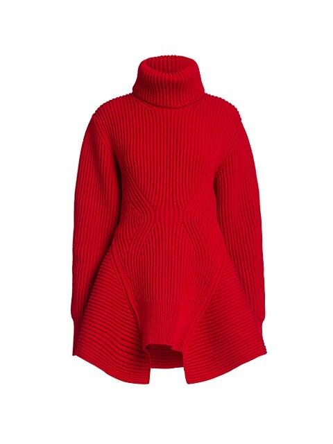 Ribbed Peplum Turtleneck Sweater