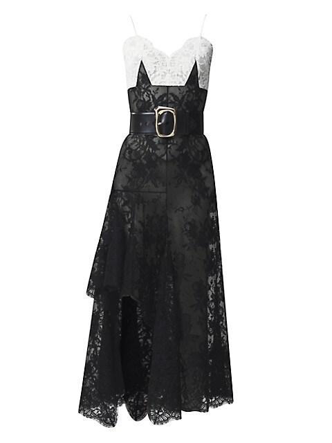 Bi-Color Dart Lace High-Low Dress