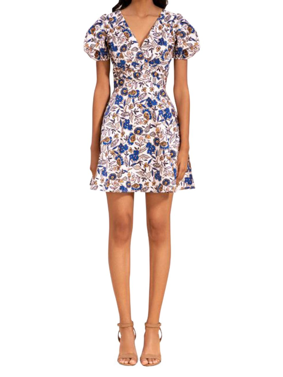 Shoshanna Katarina Floral Puff-Sleeve Dress | SaksFifthAvenue