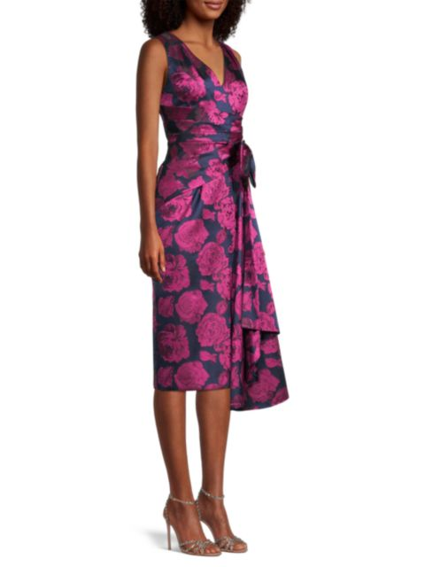 Aidan Mattox Floral Print Sleeveless Cocktail Dress   SaksFifthAvenue