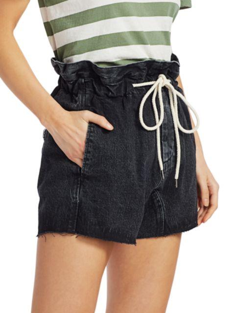 Bassike Paperbag Waist Denim Shorts   SaksFifthAvenue