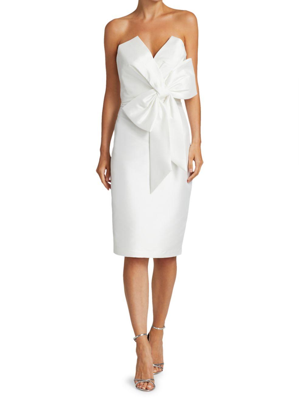Badgley Mischka Scupture Bow-Front Strapless Dress1   SaksFifthAvenue